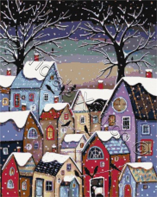 Village at 9pm by Karla Gerard landscape cross stitch kit | Yiotas XStitch