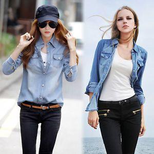 Mode-Femme-Bleu-Jeans-Denim-manches-longues-Shirt-Chemise-Chemisier-Tops-Hauts