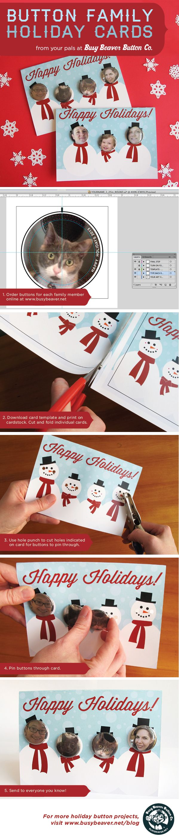 Button Family Holiday Cards - Fun holiday card DIY project with buttons for each family member. Full project instructions at the link!