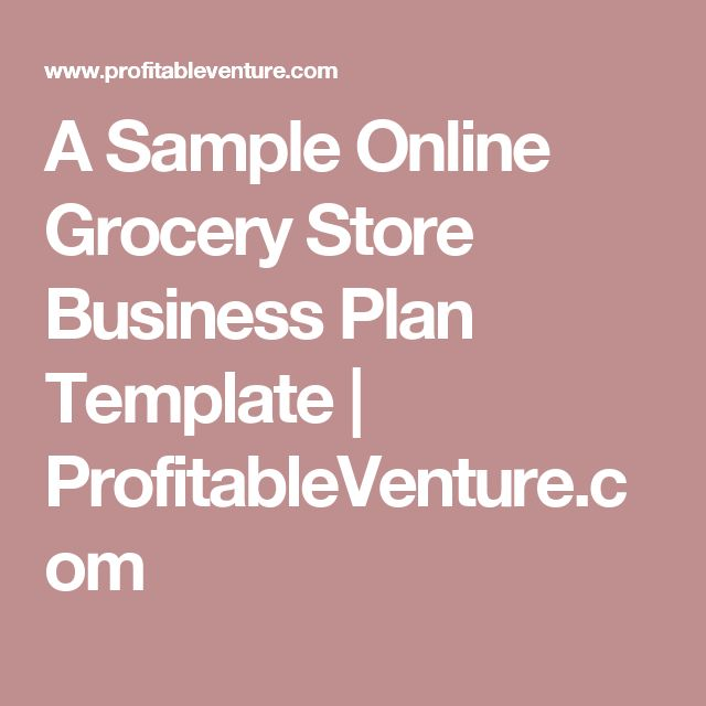 A Sample Online Grocery Store Business Plan Template - retail business plan template