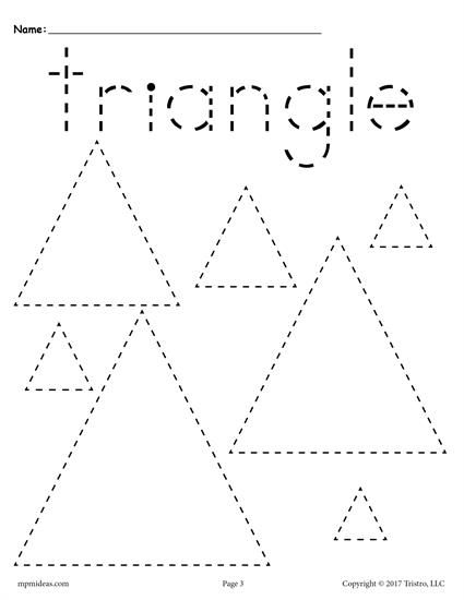 FREE preschool tracing shapes worksheets. Includes a triangle tracing worksheet plus 11 other shapes tracing worksheets. Great for toddlers too! Get them all here --> http://www.mpmschoolsupplies.com/ideas/7545/12-free-shapes-tracing-worksheets/