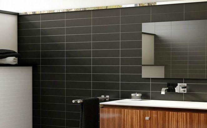 Metro Subway Tile – (Matte) Black 4″ x 16″ Ceramic Wall Tile $3.49 square foot