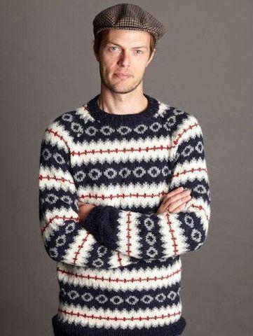 Herresweater med mønster