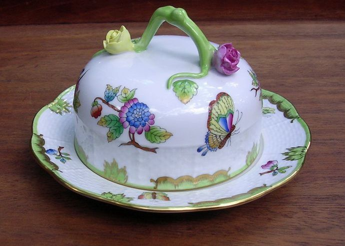 victorian butter dish | Hand Painted Herend Queen Victoria Butter Dish