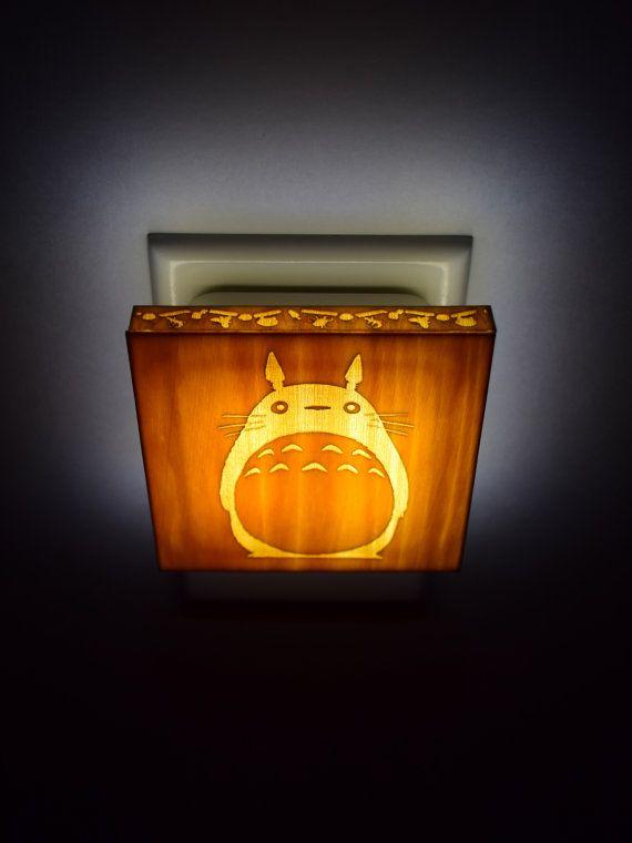 wooden night light Totoro