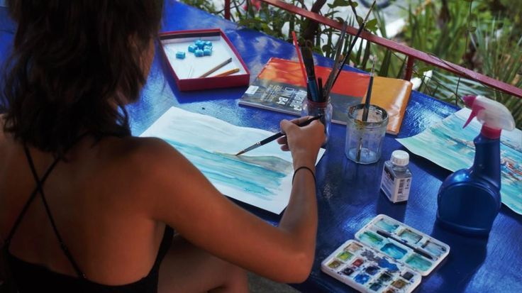 Water colors lesson at veranda of the Metaxart studio during the June workshops