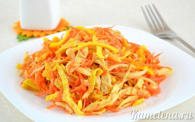 Куриный салат с омлетной лентой  300 г куриного филе 200 г моркови по-корейски 100 г лука 3 ст.л. уксуса 6% 3 яйца соль майонез для заправки растительное масло для жарки