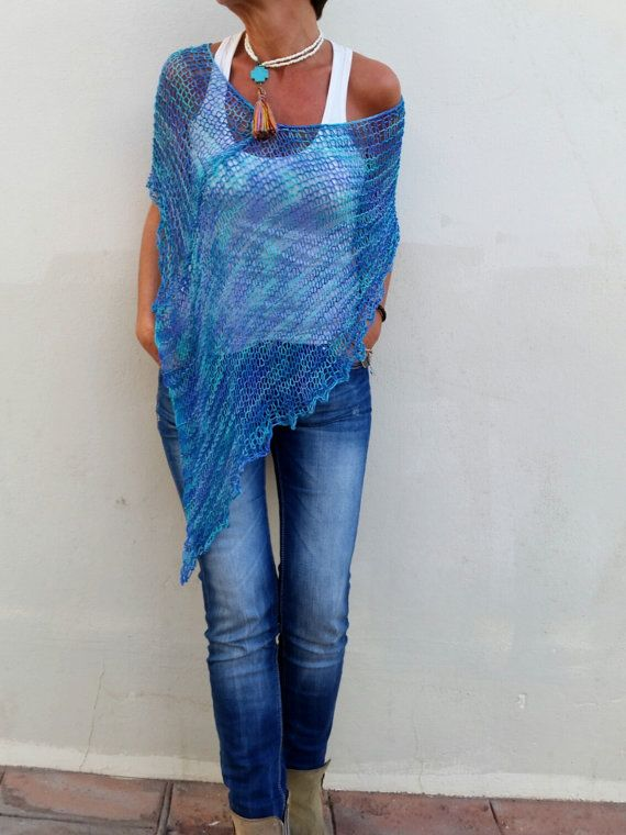 Blue knit poncho for women cotton and bamboo knitwear for summer, dress top cover up por EstherTg