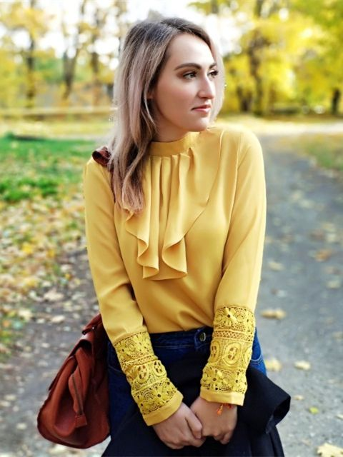3b3b362d40 SHEIN Yellow Elegant Workwear Flounce Neck Lace Cuff Button Long Sleeve  Blouse