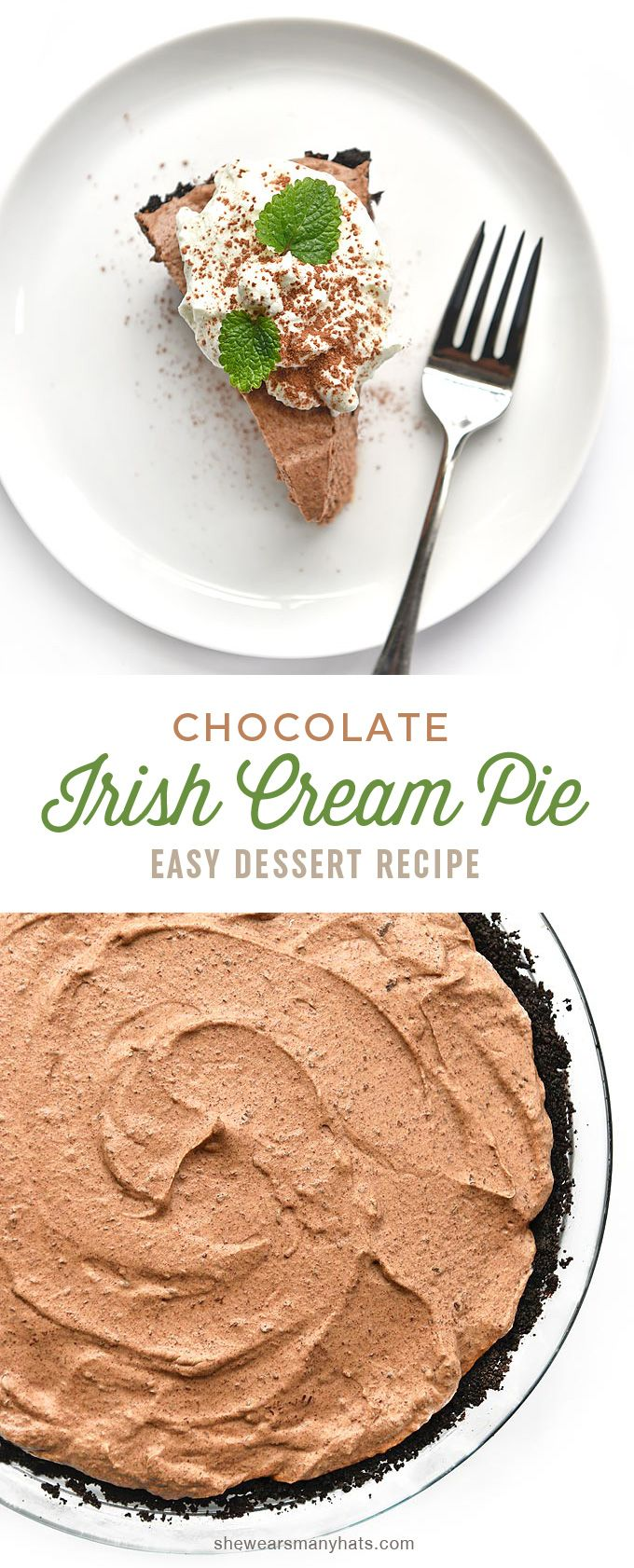 This fluffy Irish Cream Chocolate Pie Recipe is the perfect ending to a meal or enjoy it with a cup of coffee. #Pie #Irish_Cream #Chocolate