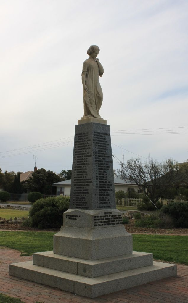 World War I memorial in Jeparit, crowned with a draped female figure holding a palm frond (palm symbolises peace).
