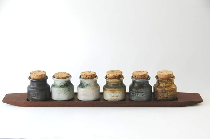 Arabia Finland Spice Jars CARNATION. Design Francesca Mascitti-Lindh. Six Spice Jars on Rosewood tray. Scandinavian modern. Made in Finland by FridasVintage on Etsy