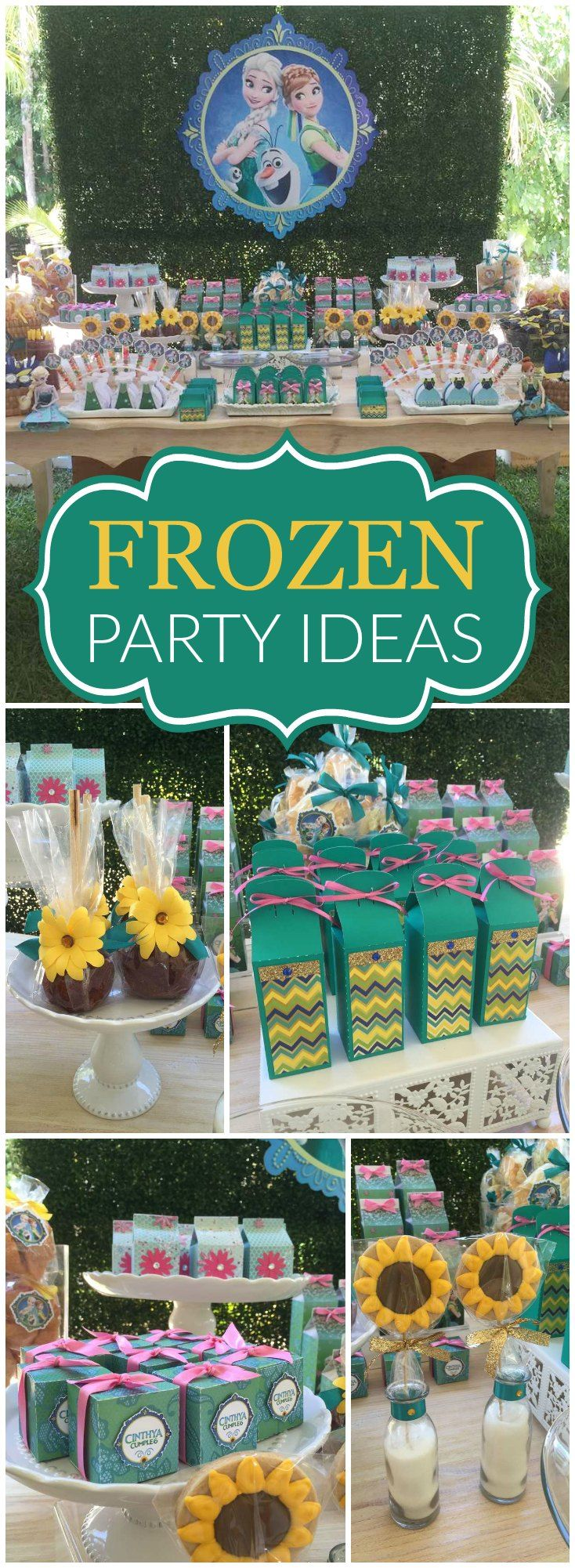 What a fun Frozen Fever party with lots of sunflowers! See more party ideas at CatchMyParty.com!