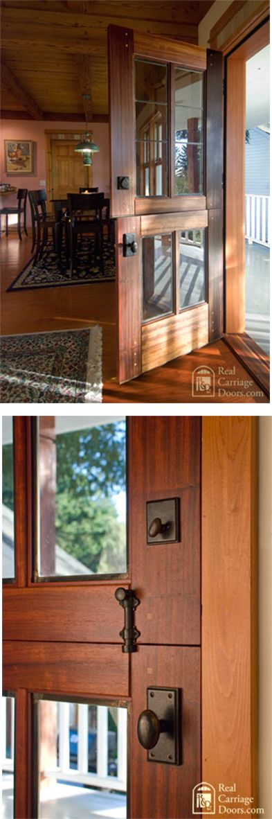 Love the wood on this and the Dutch style- Handsome Dutch door with leaded glass by Real Carriage Doors.