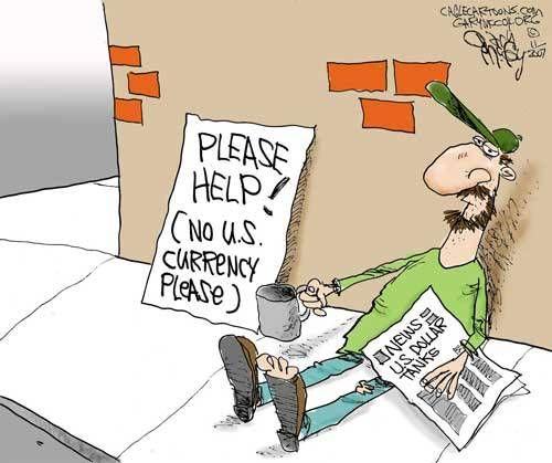 Funny Political Cartoons for Students | Falling U.S. Dollar - Funny Cartoon