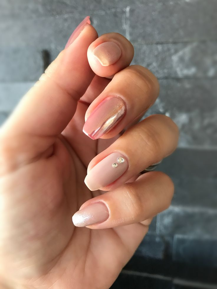 Ibd just gel polish dockside diva, rose gold chrome, matte nails