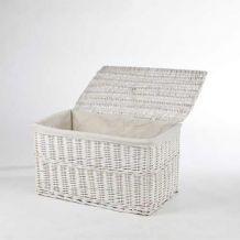 VIVANNO Truhe Wäschetruhe Korb aus Weide 'Lea', 70 cm, Weiß