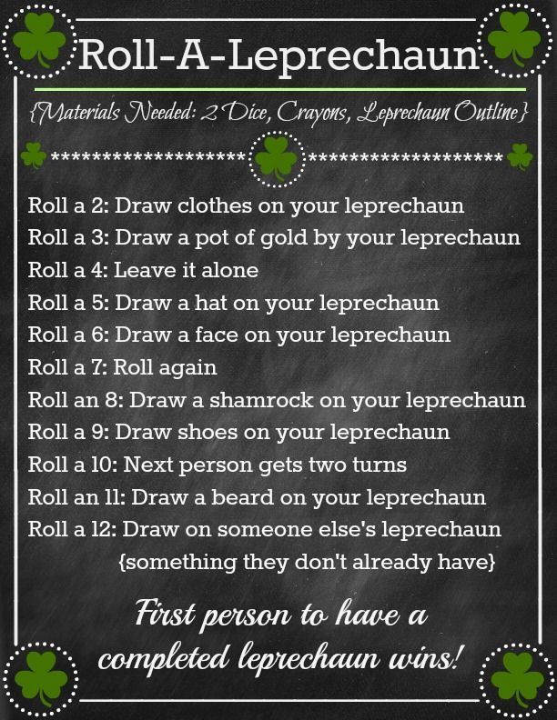 Roll-A-Leprechaun Game ~ Fun St. Patricks Day Activity! (she: Brooke) - http://oneshetwoshe.com