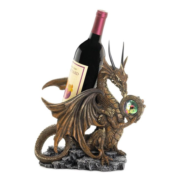 Do you dare to drink that bottle of wine? This Medieval Dragon Wine Bottle Holder is a fantastical finishing touch to your bar or buffet. Holds a standard bottle of wine in fierce style! - Wine bottle