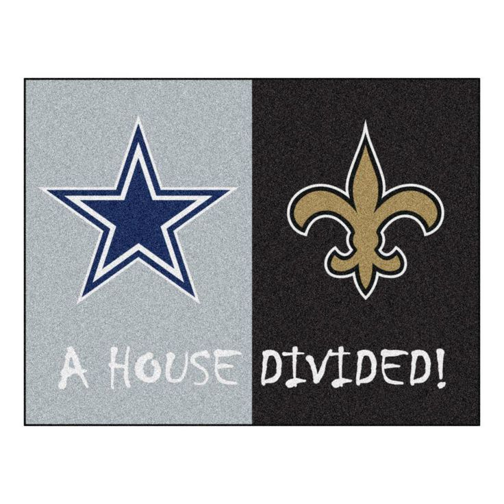 NFL Cowboys / Saints Gray House Divided 2 ft. 10 in. x 3 ft. 9 in. Accent Rug, Gray/Black