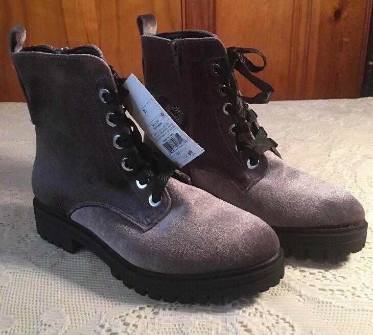 b0cd0aa4bf1 Women's Rihanna Velvet Combat Boots - Mossimo Supply Co. Gray 7.5 ...