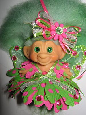 Vintage 1960s Old Troll Doll Green Pink Dot Fairy Outfit Green Mohair Spirals