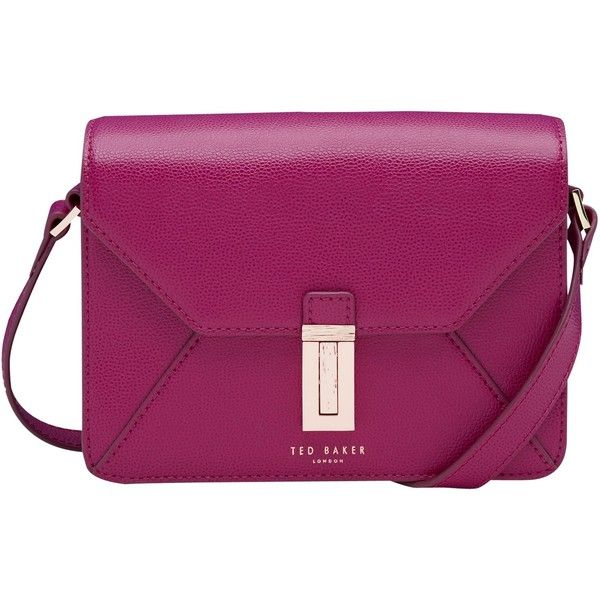 Ted Baker Ellen Leather Across Body Bag , Grape ($210) ❤ liked on Polyvore featuring bags, handbags, shoulder bags, grape, shoulder handbags, leather handbags, leather hand bags, leather man bags and purple leather purse