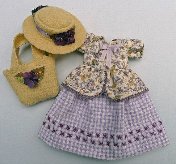 A Country Purple Gingham Outfit for Hitty Dolls by by Islecroft