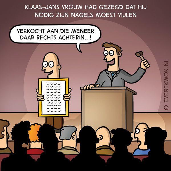 Verkocht aan die meneer daar rechts achterin! #cartoon -Evert Kwok