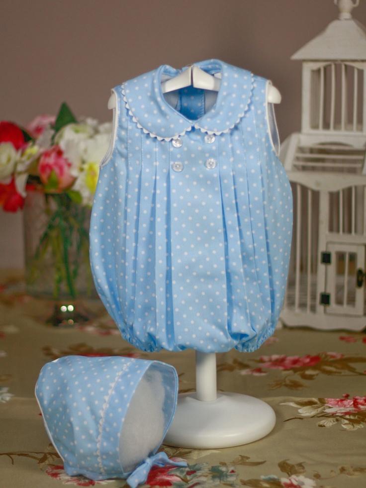 Pelele azul topos blancos con capota de Bebe | Les Bébés