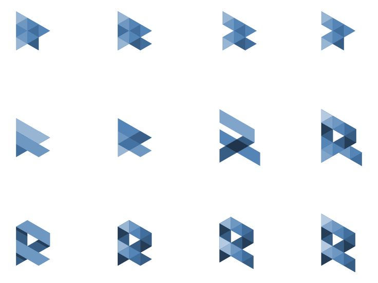 Some further explorations for a simplified R mark with geometrical shapes.