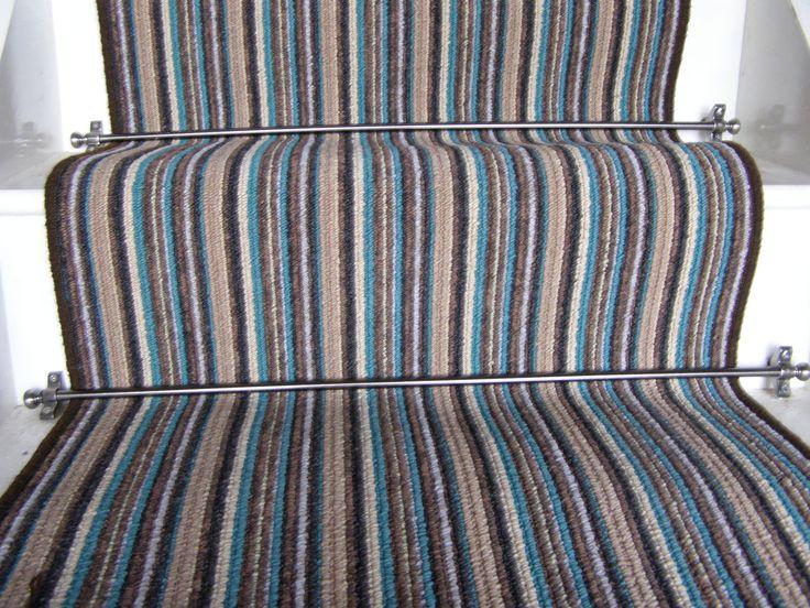 Phloor Teal Striped Stair Runner 6.5m x 0.65m