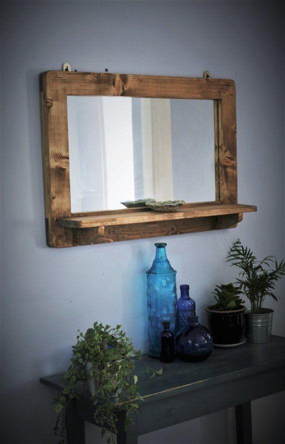 Grosser Spiegel Mit Regal Dunklem Holzspiegelrahmen Regal