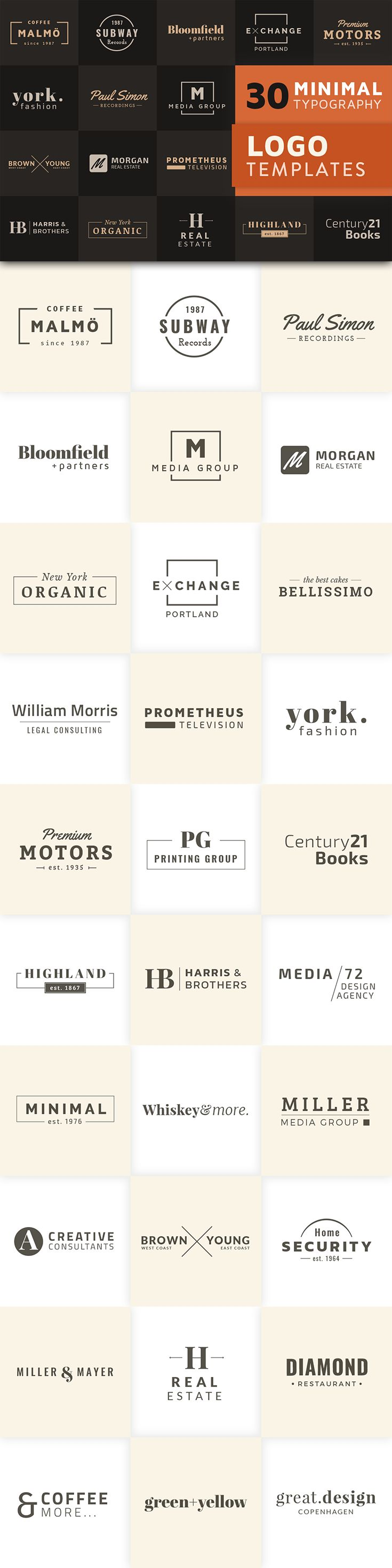 30 Minimal Typography Logo Templates for Adobe Illustrator which can be used for the branding of a large variety of business types: restaurants, design agencies, fashion, real estate, cafés, hotels or personal blogs.