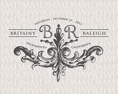 Stately Flourish Wedding Logo & Monogram (MerryMint Designs on Etsy)