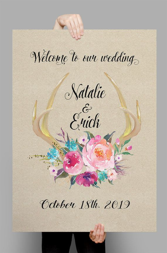 Printable Boho floral deer antler fresh flowers wedding sign customized poster…
