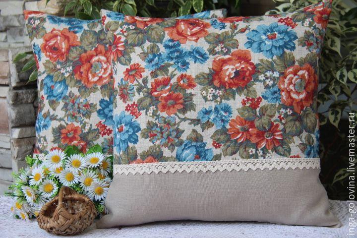 Купить Декоративные подушки льняные. Распродажа. - разноцветный, декор для интерьера, декоративные подушки, подушка