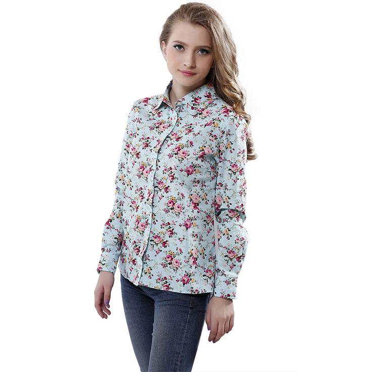 New 2015 Fashion women work wear vintage floral print cotton  long sleeve elegant blouses casual slim tops