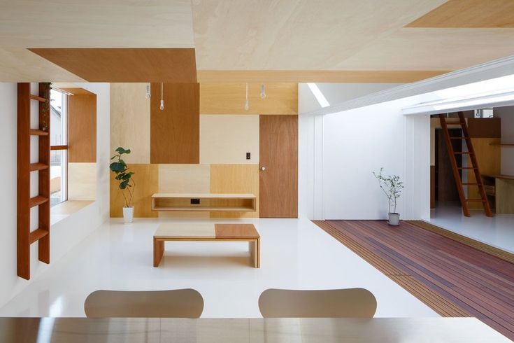 wood veneer patchwork surfaces, mA-Style Architects: Idokoro House in Shizouka, Japan | Yellowtrace.
