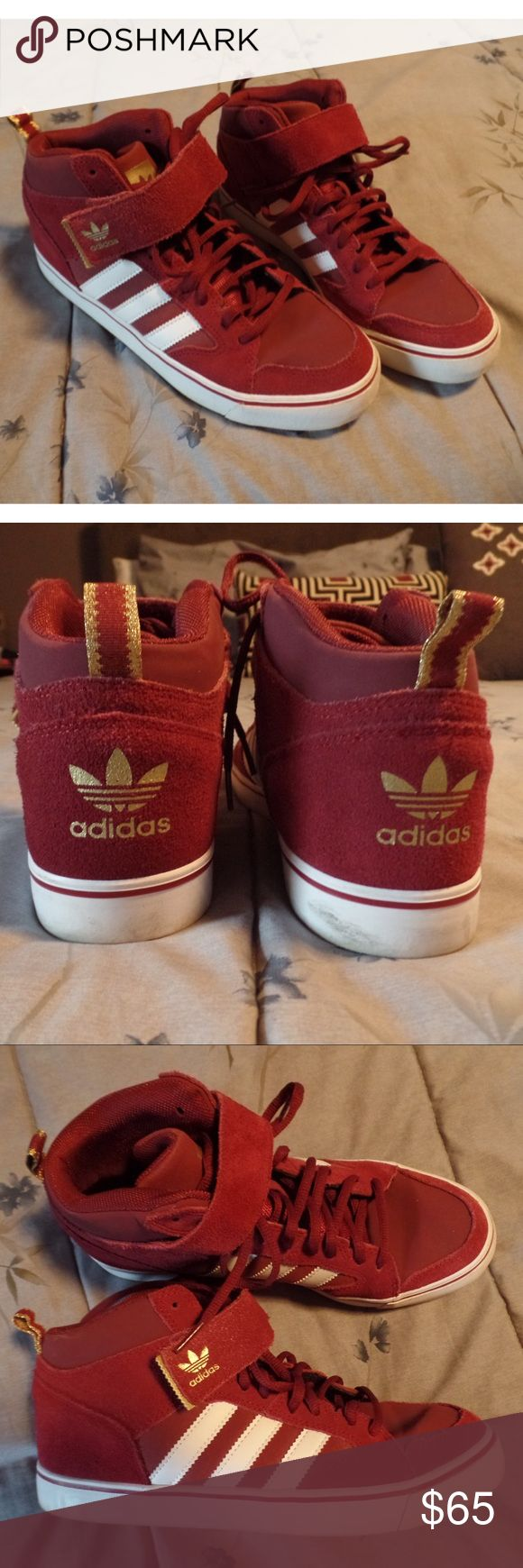 Burgundy Adidas Mid Top Sneakers Rare, Excellent condition, only worn once. Minor scuffing on white sole. Burgundy/maroon suede and nylon. Mens US 7, fits women 8.5. I'm an 8 and these are just a little too big on me : ( Adidas Shoes Athletic Shoes