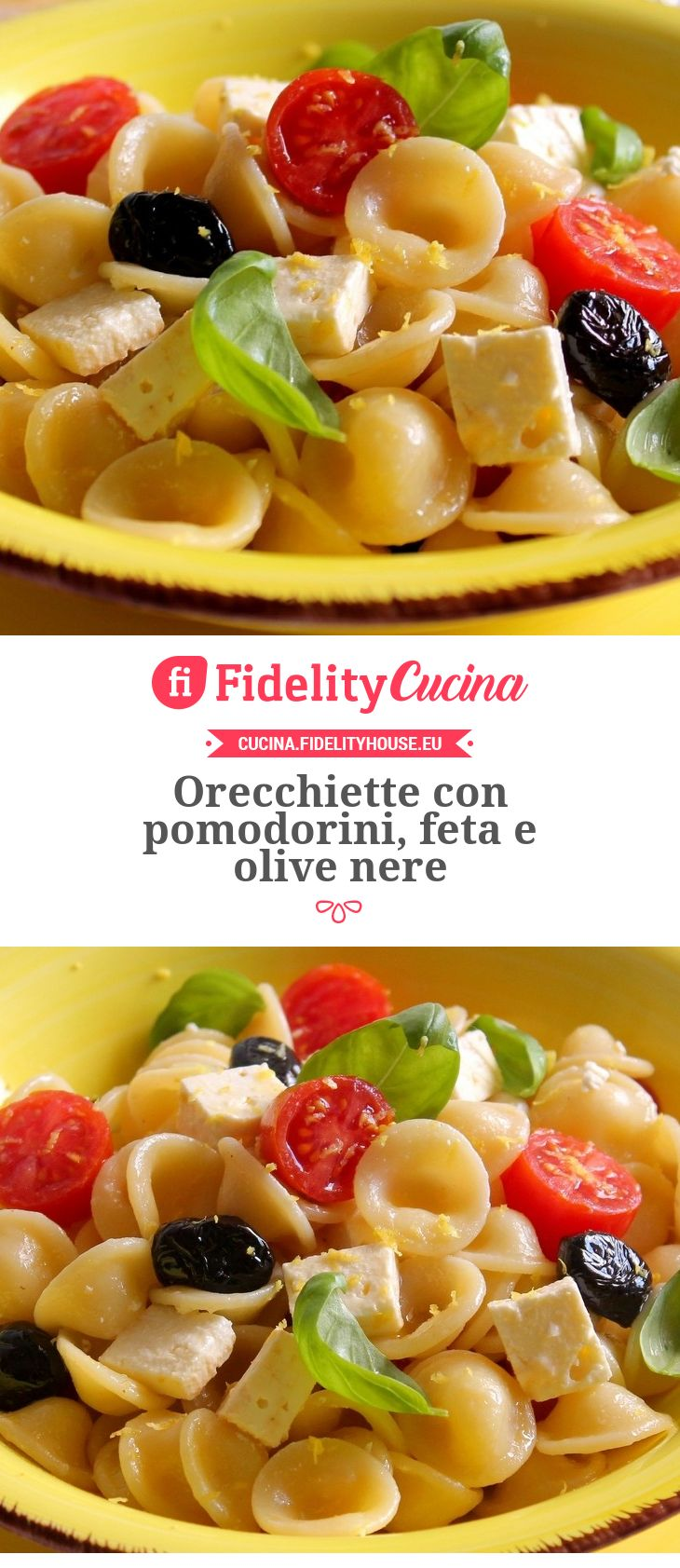 Orecchiette con pomodorini, feta e olive nere