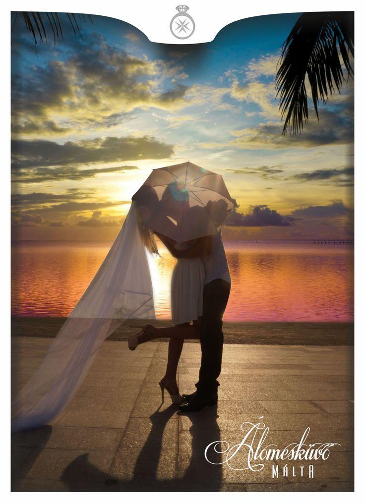 Álomesküvő Máltán, naplemente, kreatív fotózás, Málta, esküvő, esküvői fotózás