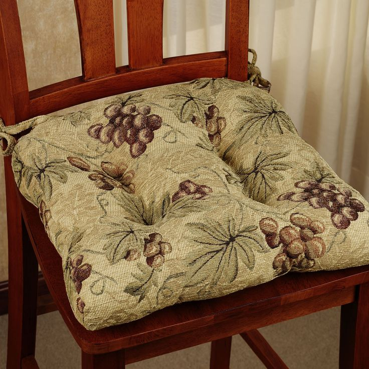 Kitchen Chair Cushions with Ties Grape kitchen decor