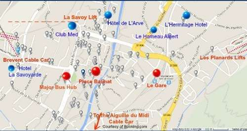 Location map of Hotels in Chamonix close to local ski lifts