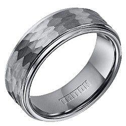 Triton Tungsten Carbide Hammered Wedding Ring $239.