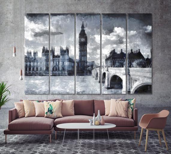 Big Ben London England Uk Wall Art Gentle City Landscape Etsy In 2020 London Wall Decor Big Ben London Landscape Artwork Canvas for living room uk