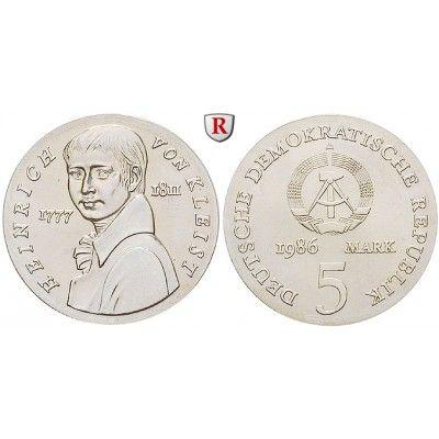 DDR, 5 Mark 1986, von Kleist, PP, J. 1611: Kupfer-Nickel-5 Mark 1986. von Kleist. J. 1611; Polierte Platte, Originalverpackung,… #coins