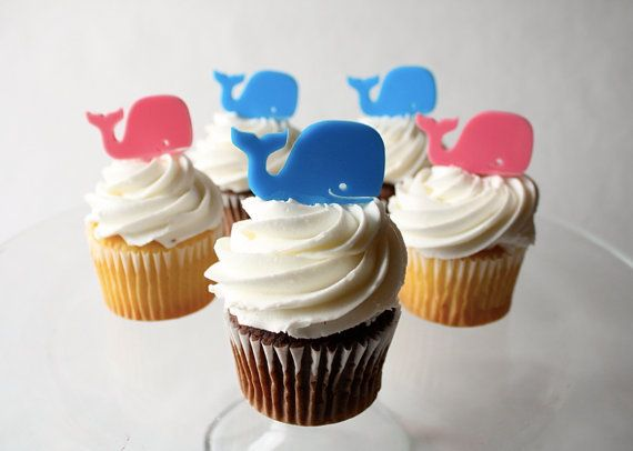 Whale Cupcake Toppers (Acrylic). Perfect for a baby shower! by Through Thick & Thin on Etsy