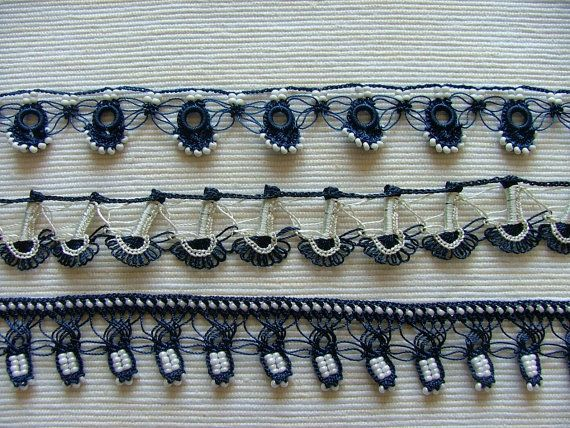 Beaded oya trims by ColorsofRengin on Etsy