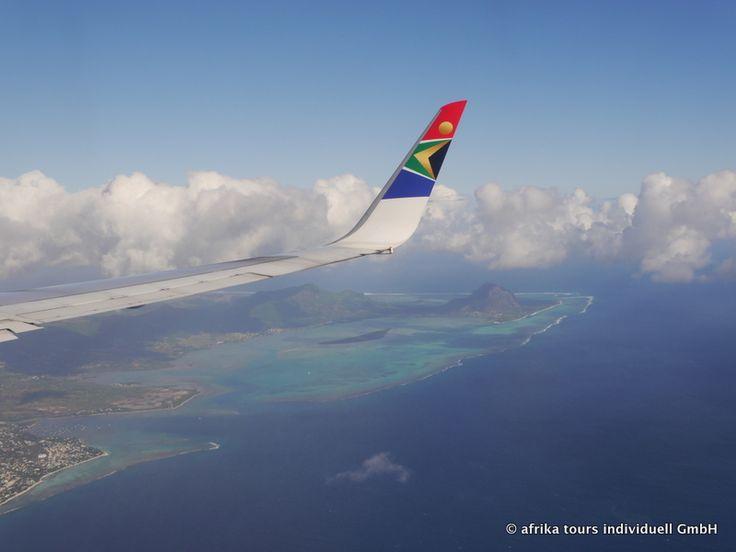 Landeanflug Mauritius mit SA192 aus Johannesburg kommend. Foto von Dirk Brunner, Geschäftsführer von AFRIKA TOURS INDIVIDUELL in München.